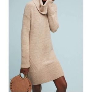 Anthropologie Sonoran Cowl Neck Tan Sweater Dress
